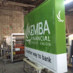 Sign in final stages of production for Kemba Financial Credit Union in Columbus Ohio