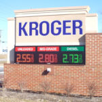 Kroger fuel center sign with electronic price display