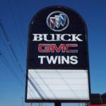 Buick GMC Twins car dealership sign