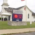 Marengo United Methodist Church sign in front of church building in Marengo Ohio
