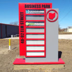 Elm Street Business Park sign with space for 8 business names or logos