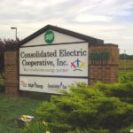 Sign with brick frame for Consolidated Electric Cooperative