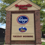 Westerville Plaza sign with brick framework featuring Kroger, Skyline Chili, and Tuesday Morning store logos