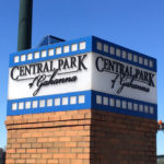 Central Park of Gahanna sign on a wide brick post