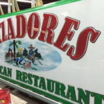 Cazadores Mexican Restaurant sign closeup