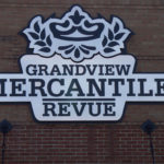 Grandview Mercantile Revue sign on brick building in Grandview Ohio