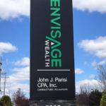 Envisage Wealth vertical outdoor sign