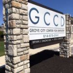 Grove City Center for Dentistry outdoor sign with stone posts