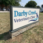 outdoor sign for Darby Creek Veterinary Clinic